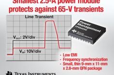 德州仪器推出支持65V瞬态保护的最小型2.5A电源模块