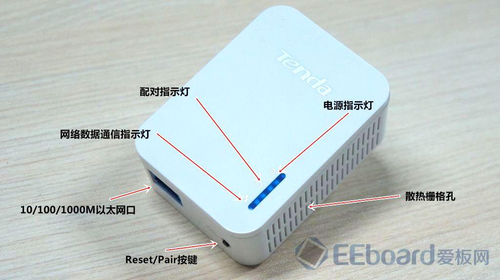 电力线传输不再是一件新奇的事,市场上也出现了各种电力猫,通过电力线组网渐渐变成了现实。电力线组网省却布线的优势是不言而喻,如今从以前几十兆传输速率的HomePlug1.0发展到如今千兆级传输速率的HomePlug AV2,电力线通信终于迎来了跨时代的变革。爱板网拿到了一款基于博通解决方案(支持HomePlug AV2规范)的电力猫产品腾达P1000,号称达到千兆级的电力线传输速率。 在腾达P1000包装盒上特别突出了HomePlug AV2技术、1000Mbps字样,盒内物件非常简洁,两个腾达P1000