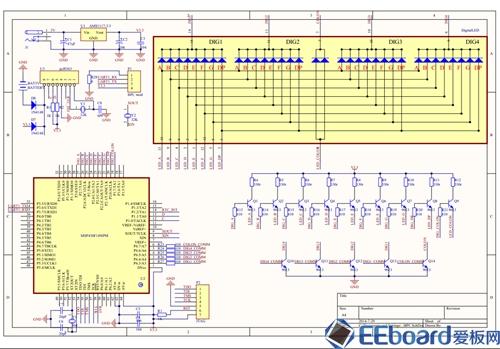 3v稳压之后,经过滤波和去耦,分别送给单片机msp430f149,数码管的阳极