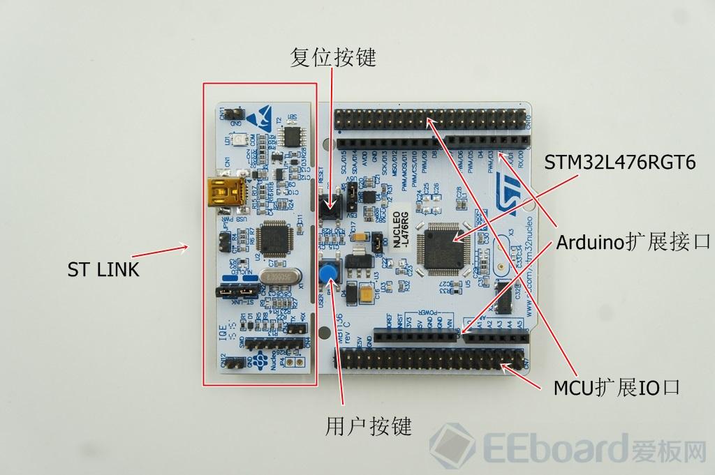 STM32L476 Nucleo板卡的硬件设计基本套用先前的Nucleo系列板卡,有点类似工厂中的流水线生产,弱弱的吐槽一句,怪不得ST的Nucleo板卡可以持续不间断的源源产出,而每个Nucleo系列板卡的主要的区别还是在于板载微控制器的差异,如下图所示,STM32L476 Nucleo板卡搭载的微控制器型号为STM32L476RGT6,这个是ST L低功耗系列中功能最为强大的一款产品。   STM32L476RGT6微控制器特性: