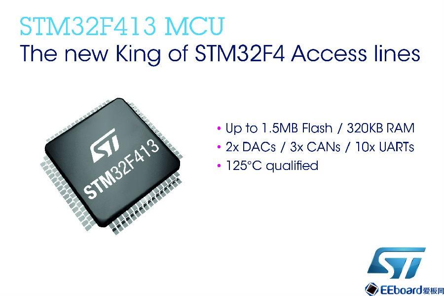意法半导体STM32F4基本型产品线提升功能集成度和设计灵活性,新增STM32F413/423两个产品线