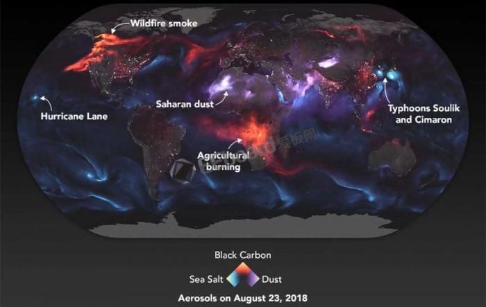 从太空看地球的烟雾和尘埃