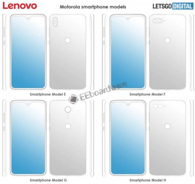 八款Moto系列外观设计专利曝光:水滴屏|全面屏