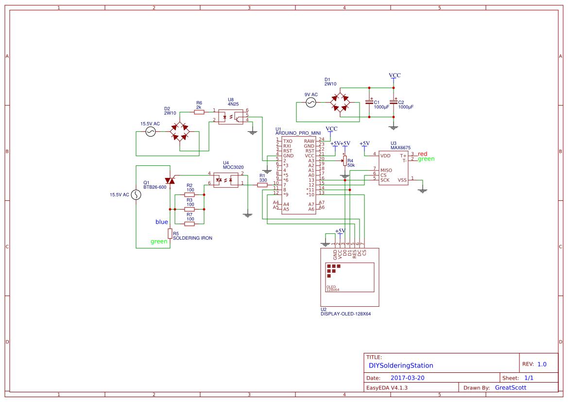 基于Arduino为JBC烙铁自制焊台(内附电路图)