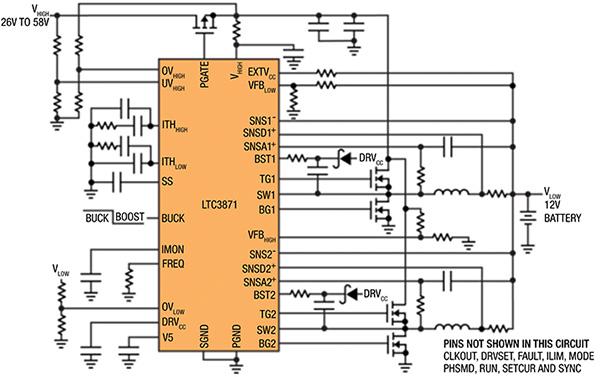 基于LTC3871的汽车电池电路设计 ,同时解决48V/12V