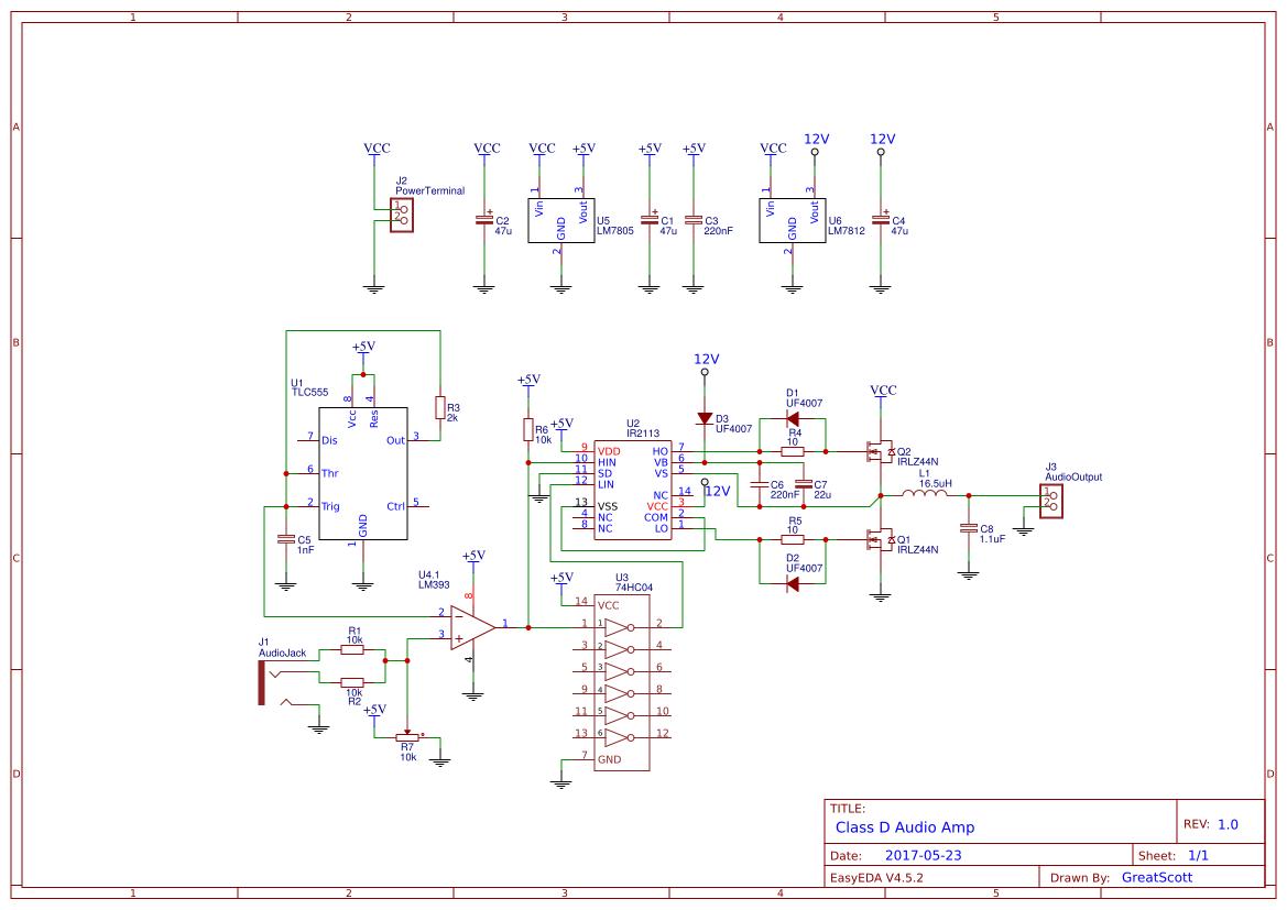 【項目教程】D類音頻放大器(附電路圖)