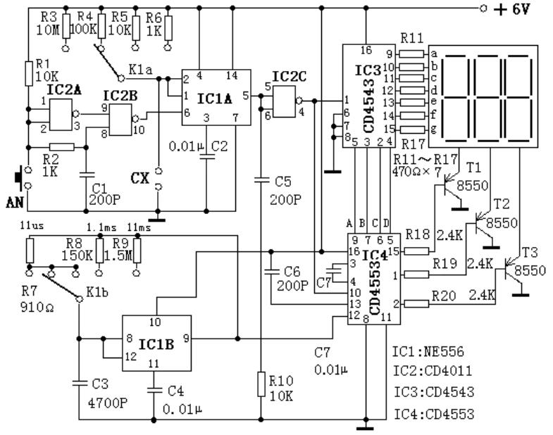 帶數字顯示,低成本的電容表原理圖設計