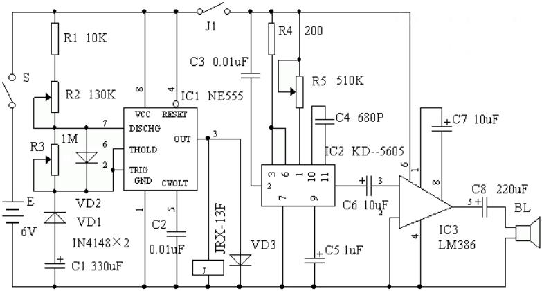 动手DIY一个基于NE555的模拟仿声装置
