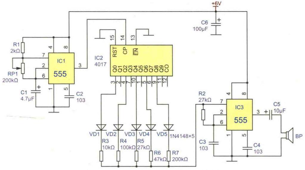 五音盒电路设计参考方案之一改变电阻