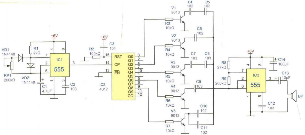 五音盒電路設計參考方案之一改變電容