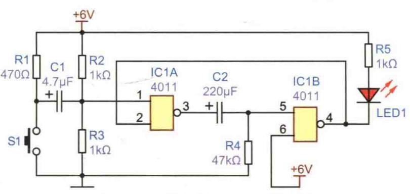 按鍵控制延時燈電路方案設計