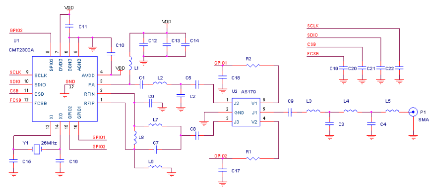 基于CMT2300A的開關射頻匹配網絡電路設計