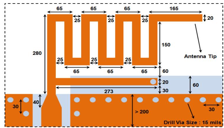 針對BLE的蛇形倒F PCB天線設計