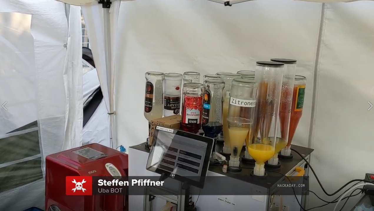 让机器人混合它,UbaBOT在CCCamp2019上提供50种鸡尾酒类型