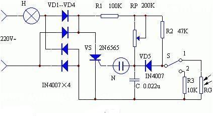光敏自动调光台灯电路设计