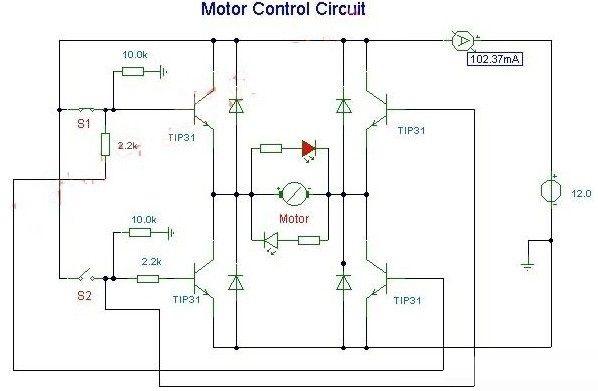 直流电机正反转控制驱动电路