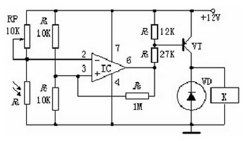 光敏電阻式光控開關電路原理圖設計參考