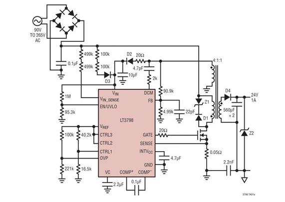 基于反激式控制器的单级转换器集成有源PFC功能电路方案参考设计