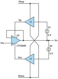低压运算放大器通过自举以实现高压信号和电源工作的应用