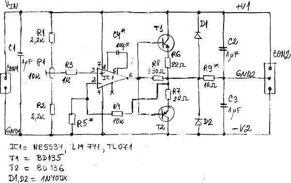 采用运放和双极结型晶体管的电压分割器电路图