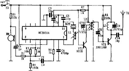 小型调频发射电路图