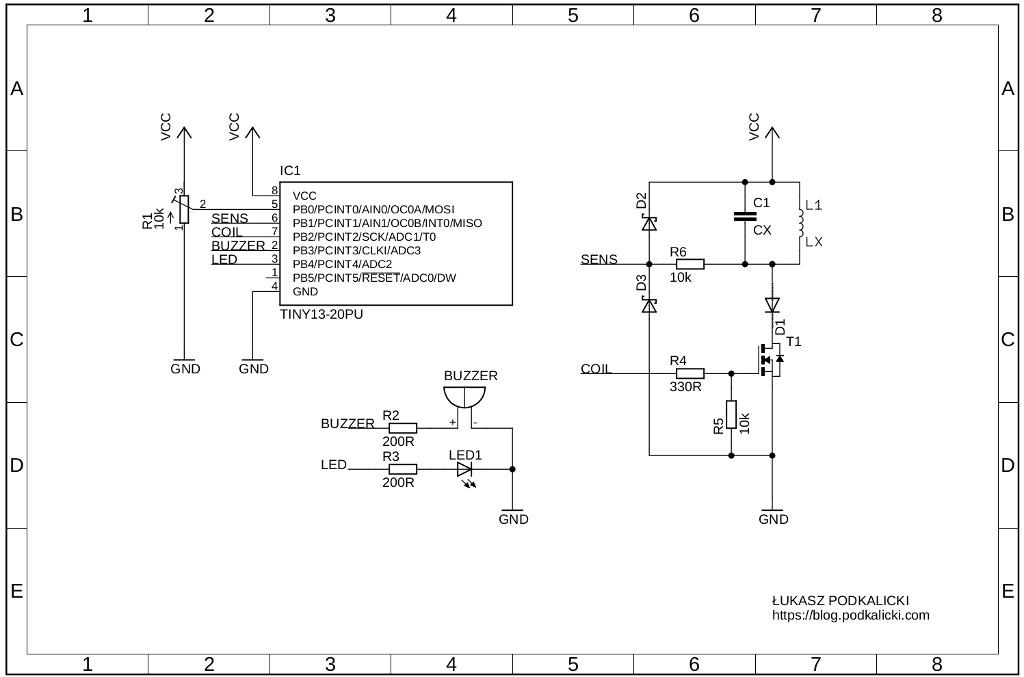 基于ATtiny13的脉冲感应金属探测器diy