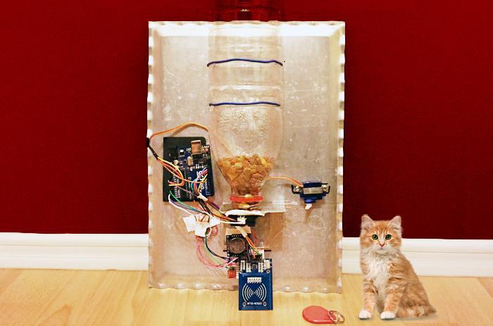 TEMT6000+GP2Y0A21YK+MFRC522+Arduino實現智能自動寵物喂食器diy