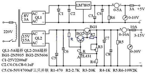 支持最大10A电流,3~15V稳压可调电源电路设计